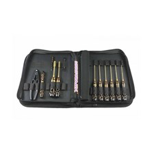 AM Toolset For 1/10 Offroad (12Pcs) With Tools Bag Black Golden