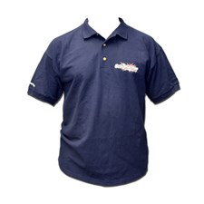 Polo - Navy - Large, 100% cotton knit mens